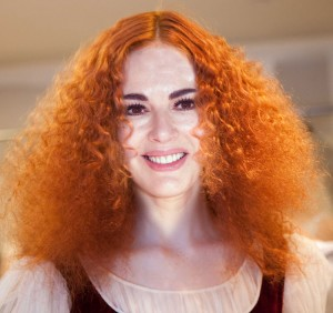 Nigella Lawson with lots of frizzy red hair