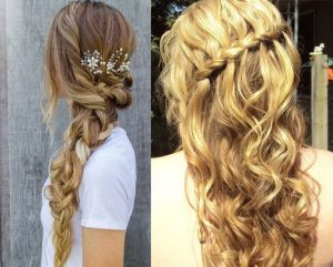 Two beautiful examples of prom hair, with long hair extensions